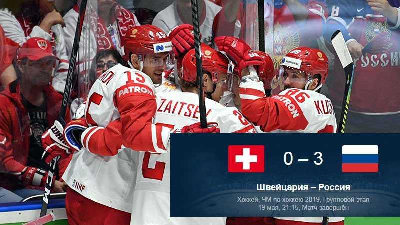 Российская сборная одерживает очередную победу на ЧМ по хоккею, разгромив швейцарцев со счётом 3:0