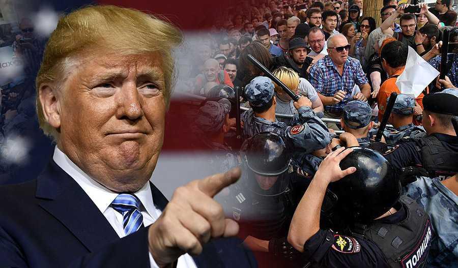 Трампа просят ввести санкции за нарушение прав протестующих в Москве