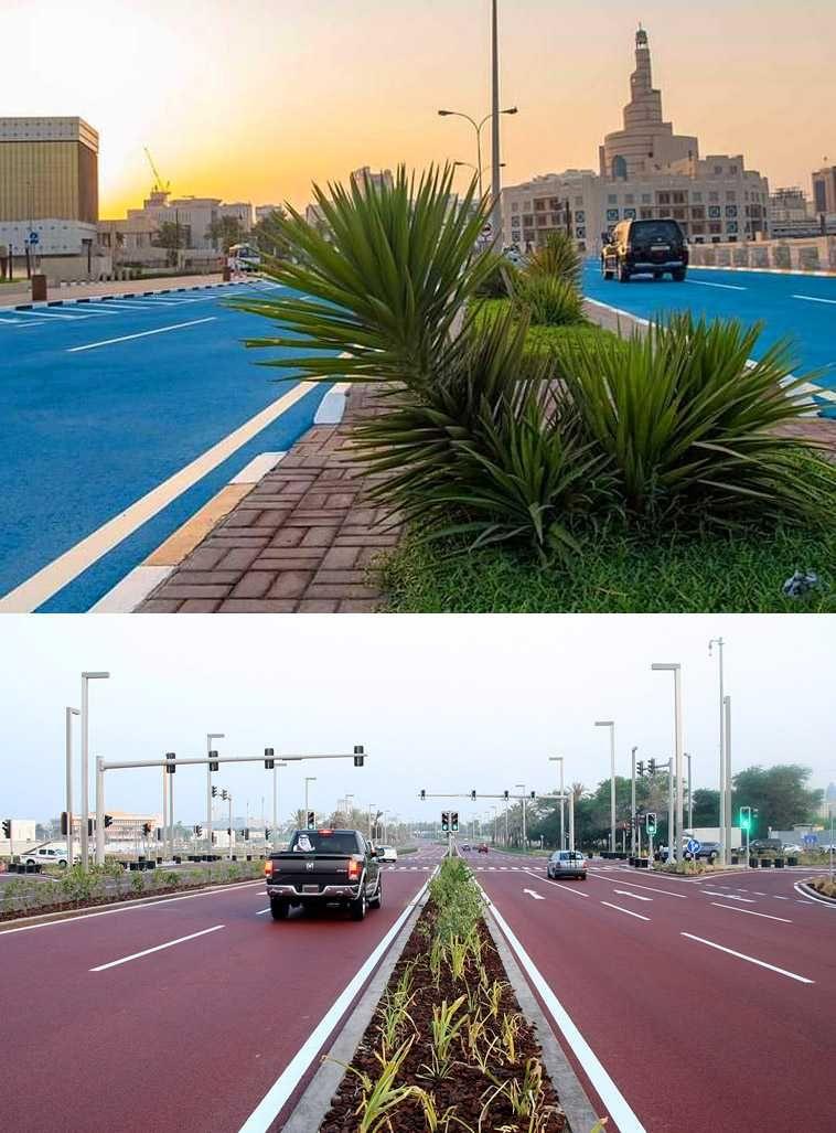 Варианты покраски дорожного покрытия в Катаре