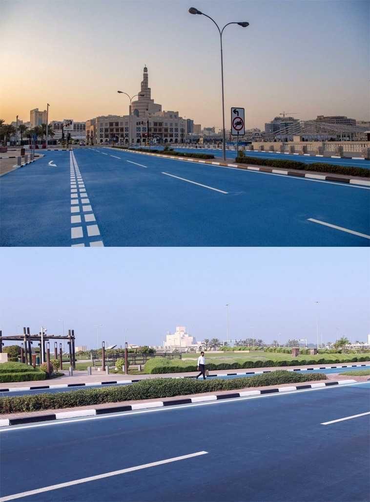 Власти Катара решили красить дорожное полотно в холодные цвета