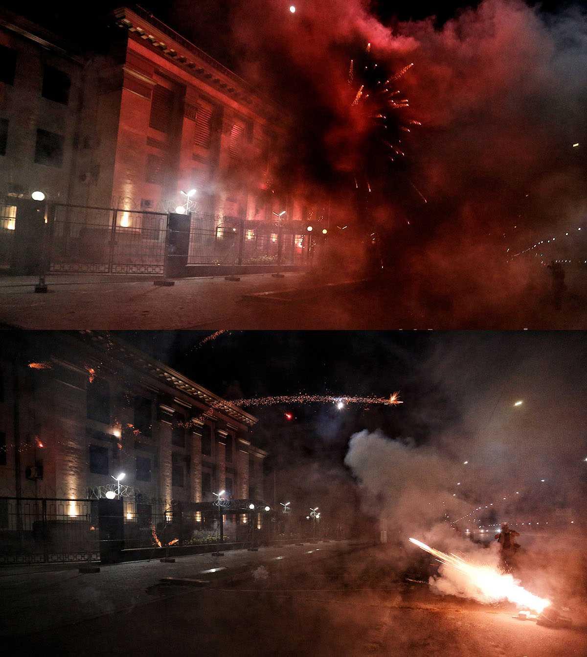Украинские радикалы обстреляли фейерверками российское посольство